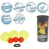 Speedminton® MATCH Speeder® - 3er Pack Speed Badminton/Crossminton original Wettkampfball inkl. Windring