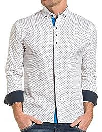 BLZ jeans - Chemise homme blanche chic à motifs longues manches