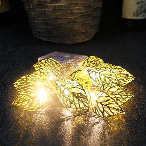 terkette Streifen Lampe Hohle Metall Blatt Schnur Licht, 20 LED Weihnachtsdekor Partei ()
