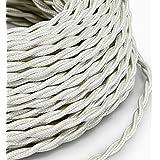 10 Mt Cavo elettrico Treccia Trecciato stile vintage rivestito in tessuto colorato Bianco sezione 3x0,75 per lampadari, lampade, abat jour, design. Made in Italy