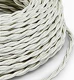 Elektrisches geflochtenes Kabel im Vintage-Stil, überzogen mit Stoff in der Farbe Weiß, Querschnitt 2 x 0,75, für Lampen, Leuchten, Lampenschirme etc. Hergestellt in Italien.