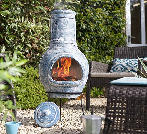La Hacienda (free cover) 94cm High Banded Clay Chiminea, Large Blue