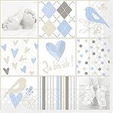 Sovie Home Serviette Baby/Tissue-Servietten 33x33 cm/saugstarke und Hochwertige Einweg-Servietten (Blau)