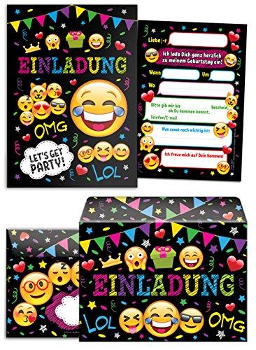 12 Einladungskarten incl. 12 Umschläge Kindergeburtstag Mädchen Jungen Jungs Geburtstagseinladungen Einladungen Geburtstag Kinder Umschlag Kartenset