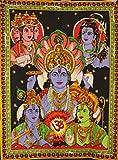 Sophia Art Handgefertigt Göttin Baumwolle Poster panchadev-Brahma, Vishnu, Shiva, Rama und Tapisserie mit Pailletten Arbeit Oben Krishna Poster