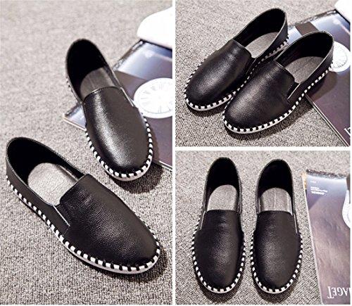QIYUN.Z Femmes Occasionnels Plat Talon Souple Vachette Chaussures Loafer Korean Printemps Chaussure Unique Noir