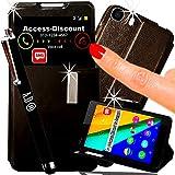 * * * LUXUS * * * Schutzhülle Wiko Pulp Fab 4g Schutzhülle Schutztasche Schutzhülle Cover mit Sichtfenster View Schwarz für Smartphone 5,5Dual LTE Dual Sim