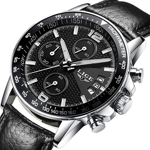 LIGE Herren Business Kleid Analog Quarz Uhr mit Wasserdichtem Silber Schwarzes Leder Band 0002