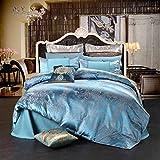 Unimall Satin Bettwäsche Jacquard-Jersey 200 x 230 cm Blau