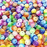 JPSOR 250 Stück 8mm Perlen Acryl Perlen Bastelperlen Multicolour gestreiften Perlen basteln für Schmuckherstellung