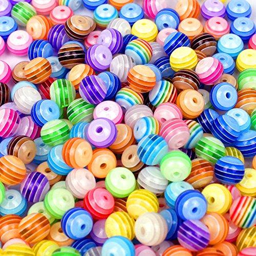 jpsor-250-pezzi-perline-8mm-perle-acrilico-resina-di-colore-rotondo-beads-ciottoli-perle-per-fare-gi