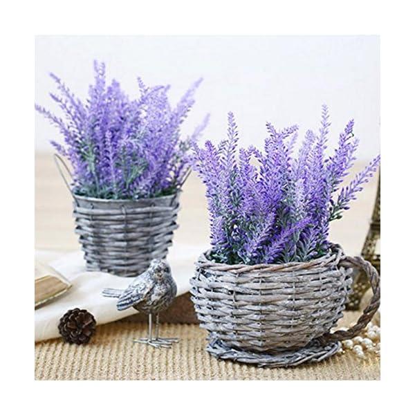 YGSAT 4 Flores Artificiales|Lavanda Artificial |Flores Artificiales de Lavanda|5 Cabezas de Flores Artificiales|Ramo de…