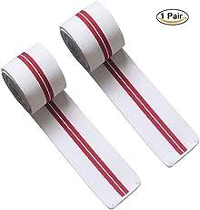 Fitness Guru Red Line Knee Wraps for Weightlifting, Fitness & Powerlifting - Knee Straps for Squats - for Men & Women (White/red)