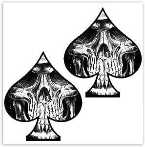 Skinoeu 2 Stück Vinyl Aufkleber Autoaufkleber Spielkarten Pik Skull Schädel Totenkopf Funny Stickers Auto Moto Motorrad Fahrrad Helm Fenster Tür Tuning B 61 Auto
