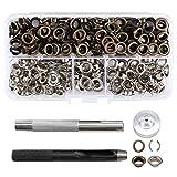 220 Stücke Ösen + Metall Lochstanzer Locheisensatz DIY Basteln 6mm Ösenwerkzeug Set mit Koffer für Plane Leder Gürtel Handwerk Craft