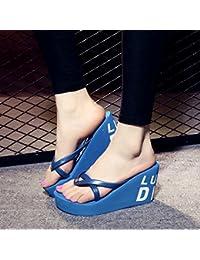 XIAMUO Sommer high-heeled Flip Flops mit dicken Plattform Hang wasserdicht Hausschuhe Sandalen 37 Krone 9 cm Blau