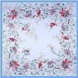 FUJFDS elegant Scarves for Women Summer Big Size Imitated Silk Scarf Shawl Fashion Women Daffodil Printed Square Scarf Light Blue Soft Smooth Silk Square