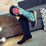 GTVERNH-in autunno e in inverno con una spessa pasta scarpe vecchio stile folk cinese di pechino gli stivali di vento pendio con alti stivali stivali stivali unico tubo ricamitrentottoblack