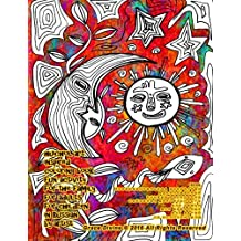 Huichol art inspired coloring book fun activity for the family for adults for children in Russian by artist Grace Divine
