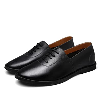Shoes Mens Casual Shoes Leather Outdoor Exercise Sneakers Formal Business Work (Color : Black1 Size : 39)