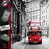 Mural Fotomural Papel Pintado Papel De Pared De Europa Calle De Londres Bus Rojo Papel Tapiz Fotográfico Mural Pegatinas Sala De Estar 3D Vinilo Autoadhesivo De Vinilo/Seda, 350 * 245 Cm