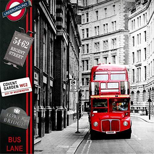 Wandsticker Wandtattoo Wanddekorationeuropa Tapeten London Street Red Bus Fototapete Wandbild Aufkleber 3D Wohnzimmer Schlafzimmer Selbstklebende Vinyl/Seidentapete, 150 * 105 Cm