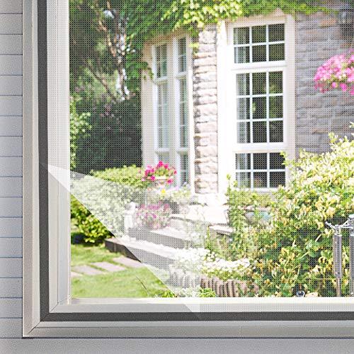 Homein Fliegengitter für Fenster Weiß 130 x 150 cm, Mückennetz zum Insektenschutz Selbstklebend Moskitonetz mit Klettband Kleben Klettverschluss Wetterfest Netz