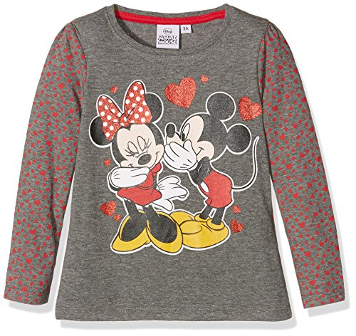 Disney Girl's Minnie and Mickey Mouse Lovehearts T-Shirt, 6-8 Yrs