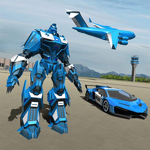 us polizei roboter auto spiel polizeiflugzeug transport amazon de apps fur android