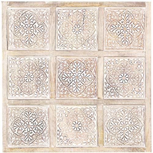 Orientalische Holz Ornament Wanddeko Anida Weiss 60cm gross XL | Orientalisches Wandbild Wanpannel in Schwarz als Wanddekoration | Vintage Triptychon als Dekoration im Schlafzimmer oder Wohnzimmer