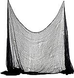 Foxxeo 35012X | Halloween Deko Stoff Dekostoff Tuch Decke Horror Halloweenstoff schwarz, Farbe:Schwarz