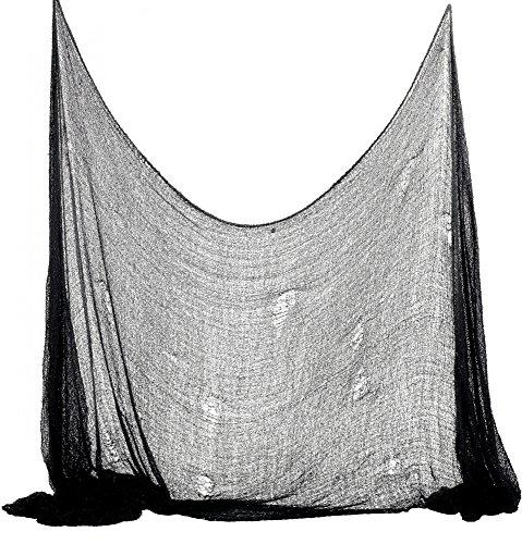 oween Deko Stoff Dekostoff Tuch Decke Horror Halloweenstoff schwarz, Farbe:Schwarz ()