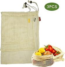 Sparta's Store 100% natürliche Baumwolle einkaufsnetze gemüsebeutel.Wiederverwendbare Obst Taschen und gemüse Taschen. Dreiteiliges Set (1L, 1M, 1S).