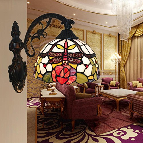 OOFAY Lichter Tiffany-Style Retro Luxus Wandleuchten Libelle Design Malerei Glasmalerei Harz Wandlampe 60 Watt 28 cm 20 cm E27 Innendekoration Cafe Nacht Schlafzimmer Lampe