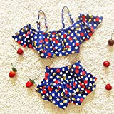 YXINY Bademode Badeanzüge Sunny Girls 2 Stück Halter Swimwear Badeanzug Tankini Sets Kinder Badeanzug Baden Mädchen Bikinis (Farbe : Blau, größe : XXL(32-37KG))