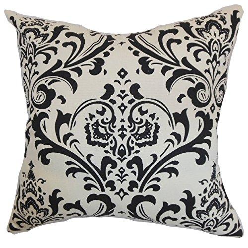 Das Kissen Collection std-pp-traditions-blackwhite-c OLAVARRIA Damast Bettwäsche Sham, schwarz weiß, Standard/50,8x 66cm -