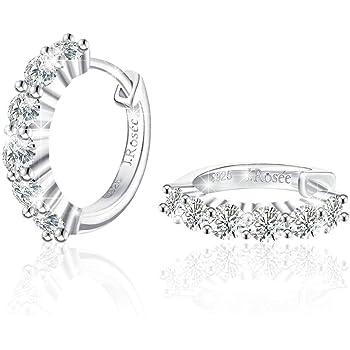 J.Rosée Women 925 Sterling Silver High Polished Cubic Zirconia Small Hinged Hoop Earrings