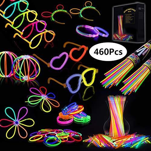 IREGRO Knicklichter 200 Stücke Leuchtstäbe Armreifen Glowstick Partylichter inkl. 100 x 2D-Verbinder, 4 x Kreisverbinder, 4 x 7-Loch-Verbinder vielfarbig (Tanz-armreif)