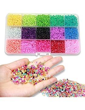 Ewparts 3mm Mini Glasperlen für Kinder DIY Armband Art & Jewellery-Making, Perlen Zum Auffädeln Perlenschnur Making...