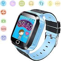 Jslai - Orologio intelligente per bambini, con funzione GPS, con funzione di chiamata SOS, schermo tattile, per bambini…