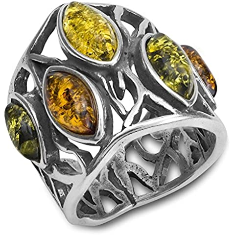 Ámbar Multicolor Plata Esterlina anillo de Marquesa
