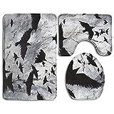 RedBeans Crows Ravens Wunderschöne Art Badezimmer Teppich Mats Set 3-tlg.–Weiches Dusche Bad Teppiche Contour Matte und Deckel Bezug Perfekte Kombination aus Luxus und Komfort