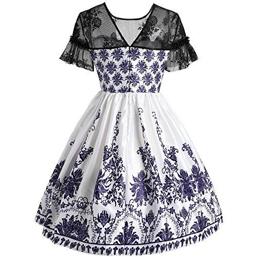 iBaste femmes rétro robe en dentelle vintage perspective manches robe robe de cocktail jupe plissée robe de soirée Blanc