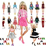 Toy - Barwa 15 items = 5 Sets Handmade Daily Fashion Causal Clothes Outfits Bundle with 10 shoes for Barbie Doll Random Stlye