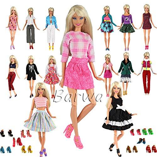 Fashion 5 Partymoden Urlaubstag Kleidung Kleider Outfit mit 10 Paar Schuhen für Barbie Puppen Doll