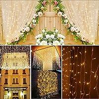 LEDEPLY 3 x 3M LED Lichterkette, 300 Stücke decoration lights, IP44 Wasserdicht, Außen, Lichterkettenvorhang, Party, Hochzeit, Garten, Weihnachten (Warmes Licht)