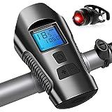 Luz Bicicleta USB Recargable, Impermeable Luces para Bicicletas Delantera y Trasera con Velocímetro Multifunción y Bocina, 4