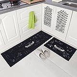 Carvapet 2 Stück rutschfeste Küchenmatte Rückseite aus Gummi Fußmatte Läufer Teppich Set (40 x 120 cm + 40 x 60 cm) Cozinha Design, (Schwarze)