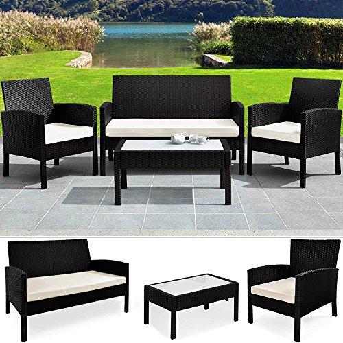 Deuba Poly Rattan Lounge Sitzgruppe 7 TLG I Alu Gestell I 7cm Auflagen + Tisch Schwarz Balkonset Gartenmöbel Balkon Set