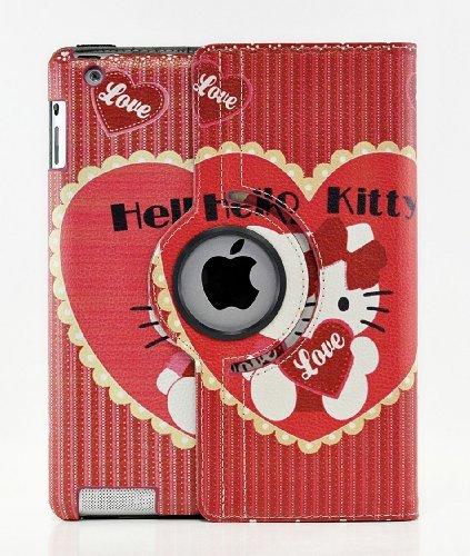 Hello Kitty Design 360Grad Drehbar PU Leder Hard Case für Apple iPad Color 2 iPad Air (Kitty Case Hard Hello Ipad 2)